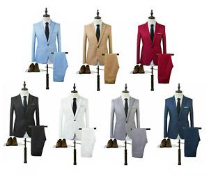 Men's 2 Piece Suit Slim Fit Jacket Trousers Wedding Party Colourful Prom Boys