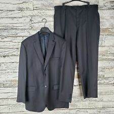 Pronto Uomo Signature Mens Wool Pinstripe Suit Lanificio A Rodina Navy 46L 40x29