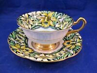 ANTIQUE ROSINA TEA CUP & SAUCER - BOLD YELLOW FLOWERS AND GREEN LEAVES - ENGLAND