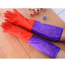 Rubber Latex Dish Washing Cleaning Thick Warm Long Gloves Household Kitchen Tool