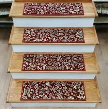 """Red Floral Stair Tread Set of 7 Non Slip Carpet Treads 27"""" x 9"""" Rug Depot"""