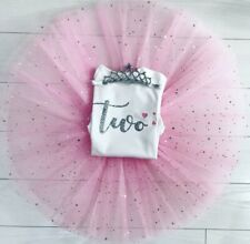 Luxury Girls 2nd Second Birthday Outfit Tutu Skirt & Top Set Pink Silver Party