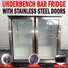 NEW 2 Door Under Bench Display Fridge Refrigerator With Stainless Steel Doors