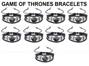 GAME OF THRONES - ADJUSTABLE LEATHER BRACELETS FOR ADULTS AND KIDS - UNISEX - UK