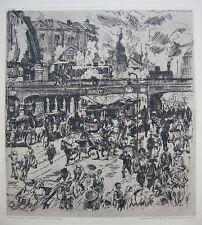 Wilhelm Giese (1883-1945) Alexanderplatz in Berlin Orig Radierung 1920