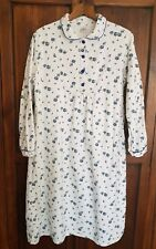 VINTAGE C&A WHITE BRUSHED COTTON FLORAL NIGHTIE NIGHTDRESS SZ 14-16 LONG SLEEVES