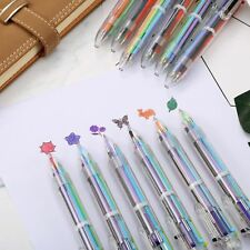 6 Multi Color In 1 Retractable Ballpoint Pens Purple Red Pink Orange Stationery