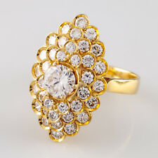 18k Yellow Gold Diamond Solitaire Cluster Ring w/ GIA Cert TDW = 2.72 ct Size 7