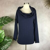 Minnie Rose Cowl Neck Blue Cotton Long Sleeve Sweater Size Large
