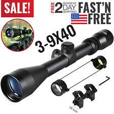 3-9x40 Rifle Scope Crosshair Tactical Sniper Hunting Shooting Air Gun 20mm Mount