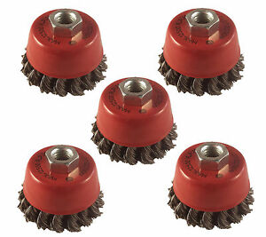 """5 x Twist Knot Wire Wheel Cup Brush 3"""" M14 for 4.5"""" 115mm Angle Grinder"""