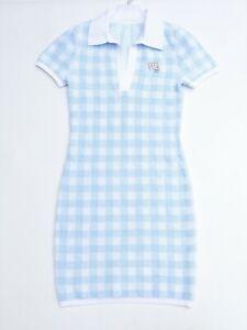ALEXANDER WANG women's Towel Gingham bodycon dress in Blue size S