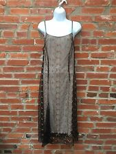 Vintage 90s Betsey Johnson Dress Black Embroidered Mesh Overlay (1304)