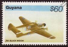 WWII Northrop P-61 BLACK WIDOW Fighter Aircraft Stamp (1995 Guyana)