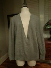 LAFAYETTE 148 New York 100% cashmere gray deep V-neck sweater women's size XL