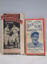 Vintage Famous Sluggers of 1936 & Sporting News Record Book for 1938 Booklets