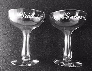 1970s Vintage Bride / Groom Champagne Toasting Glasses - Excellent Condition