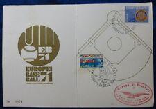 CARD COMITATO EUROPEI BASEBALL - PARMA - BOLOGNA - 1971