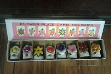 Vintage Flower Place Card Holders in Original Box Made in Japan/Cmmodore Product