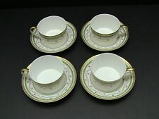 Faberge Luxembourg-Green Cups & Saucers / Set of 4 / Excellent