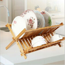 Bamboo Dish Drainer Rack holder Stand Plates Drying Storage Kitchen Wood Tool