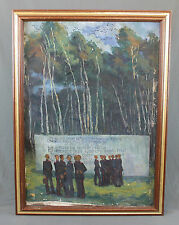 Russian Military Oil Painting Soviet Cadets by a War Memorial