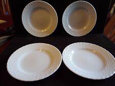 """4 Tienshan White Porcelain Basket Weave Design Dessert Salad Bowls 7 3/4"""" D"""