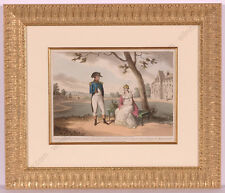 """Napoleon I and Josephine in Malmaison"", Color Aquatint after J.-B. Isabey, 1824"