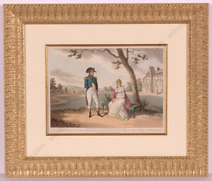 """""""Napoleon I and Josephine in Malmaison"""", Color Aquatint after J.-B. Isabey, 1824"""