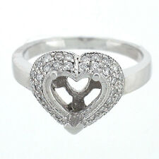 Vintage Heart Shape Diamond Semi Mount Engagement Ring Setting 0.38 Carats-14K