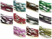 """5 Pcs Coloured Memory Wire Necklaces 18 """" Clasp Choker Necklace Jewellery ML"""
