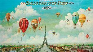 "vintage antique paris balloons Print   art painting framed canvas France 32"""
