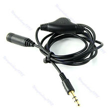 1M 3.5mm M/F Stereo Headphone Audio Extension Cord Cable with Volume Control New