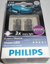 W5W PHILIPS VISION W5W LED 6000k T10 3x MORE LIGHT LED SIDELIGHTS