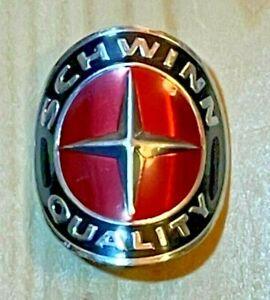 Schwinn Bike, Vintage Style, Chrome Head Badge, Red, Black & Chrome, Curved NEW