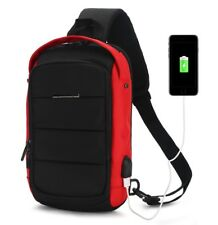 Sling Bag with USB Charging Port for Men Women Crossbody Sports Chest Backpack