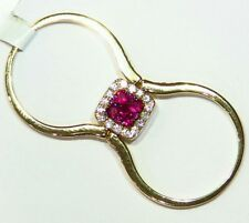 .98CT 14K Gold Natural Cut Round Ruby Diamond Engagement Flip Ring Designer Deco