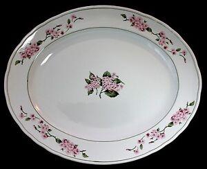 "MSE Martha Stewart Hydrangea Pattern Large Oval Platter 16 1/2 x 13 1/2"" EUC"