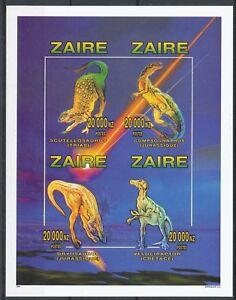[217] Zaire Bloc 71A** animaux préhistorique - non dentelé. Superbe. Cote : 44 €