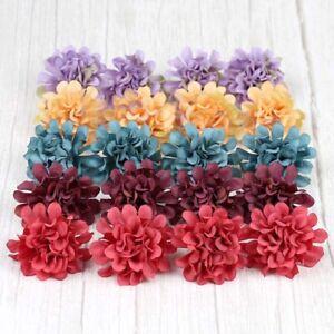 10/100Pcs Silk Artificial Hydrangea Flower Heads Fake Bouquet Wedding Home Decor