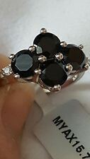 Black Spinel & White Topaz Sterling Silver ring 4.36cts with certificate