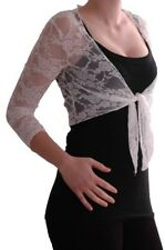 Womens Casual Floral Lace Mesh Tie Front 3/4 Sleeve Cardigan Ladies Shrugs Tops
