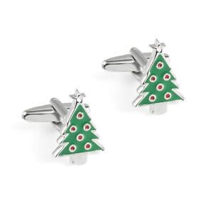 NOVELTY CUFF LINKS CHRISTMAS TREE MENS GREEN GIFT BOX CUFFLINKS BNIB  NEW UK