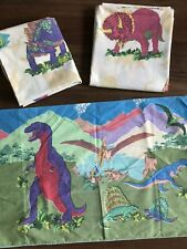 Vintage Dinosaur Sheets Twin Flat + Fitted + Pillowcase Boys Girls Kitsch 80s