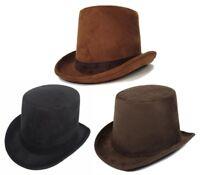 Adult Men's Coachman Steampunk Victorian Top Hat Dickens Caroler Brown Black