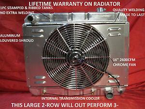 1962 1963 1964 1965 1966 1967 Chevy II Nova Aluminum Radiator with Shroud & Fan