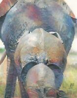 """Pack of Elephants Behind Watercolor Painting Animal Wildlife Original Art 14"""""""
