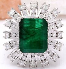 7.66 Carat Natural Emerald and Diamond 18K White Gold Engagement Ring