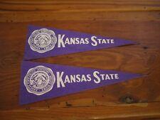 Pair Vintage 1940s Kansas State Agricultural College Purple Felt Small Pennants