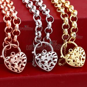 18K YELLOW WHITE GOLD GF BELCHER RING CHAIN HEART PADLOCK SOLID WOMENS BRACELET